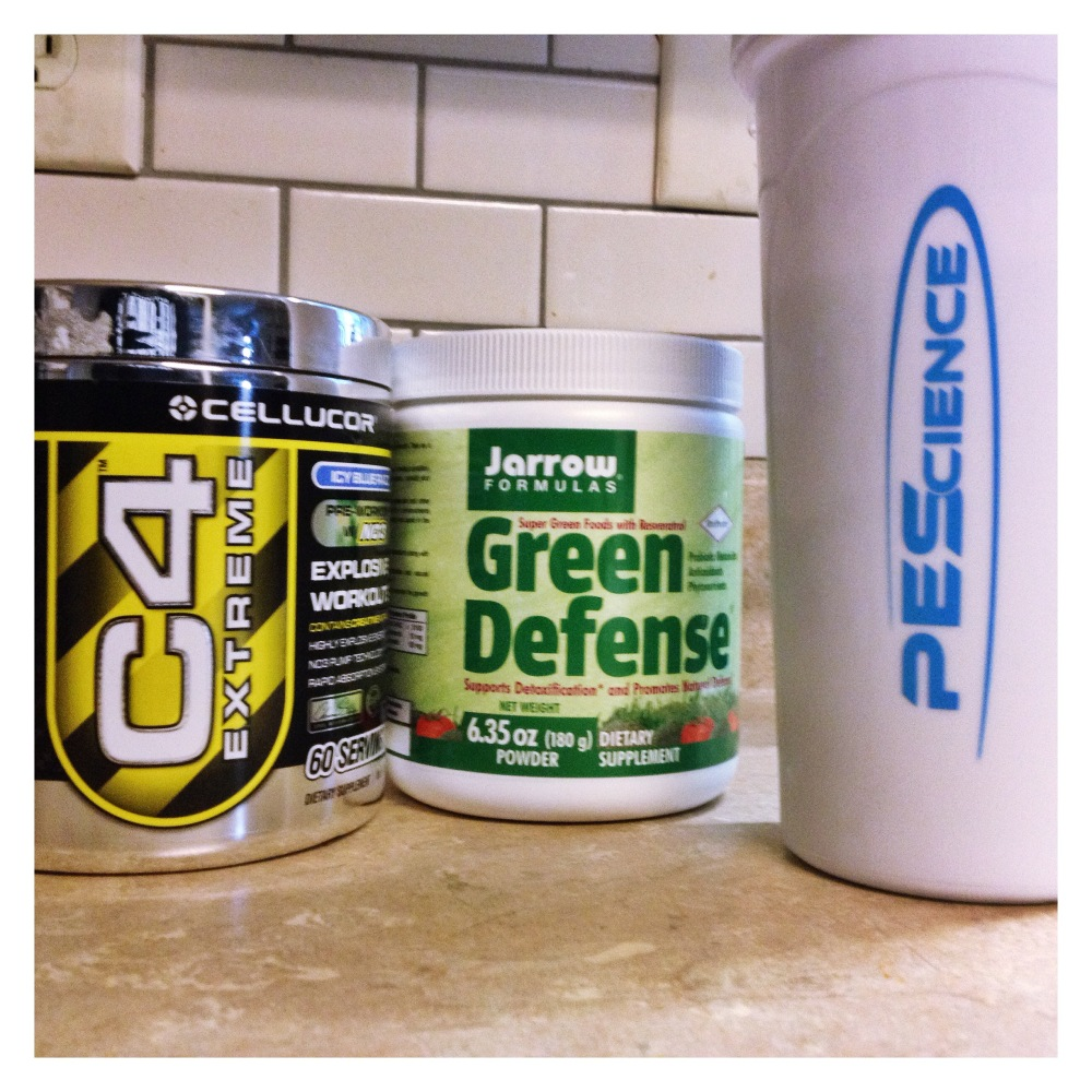 My pre-workout and Green Defense powder!